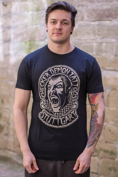 T-Shirt schwarz black Checker Demon Tattoos