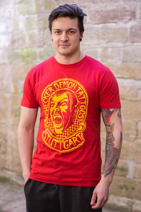 T-Shirt rot red checker demon tattoos